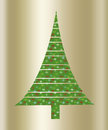 Christmas green tree a gold background illustration Royalty Free Stock Images