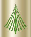 Christmas green tree a gold background illustration Royalty Free Stock Image