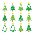 Christmas green tree with star icons set