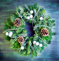 Christmas green wreath with decorations Royalty Free Stock Image