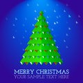 Christmas greeting card abstract christmas tree green on snowing blue background Royalty Free Stock Image