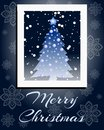 Christmas greeting card with abstract decorated christmas tree and snowflakes Royalty Free Stock Images