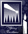 Christmas greeting card with abstract decorated trees shooting star candle and snowflakes Stock Images