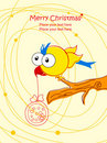 Christmas greeting card with cartoon bird. Place f Royalty Free Stock Photo