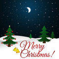 Christmas Greeting Card with christmas tree and night sky background Royalty Free Stock Photo