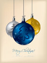Christmas greeting card with decorations Royalty Free Stock Photo