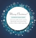 Christmas greeting card. Decorative blue ball with snowflakes and confetti.