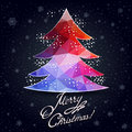 Christmas greeting card with decorative tree from winter holidays for your design the background elements of geometric triangles Stock Photos