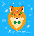 Christmas Greeting Card Design. Christmas Fox