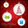Christmas greeting card design with decorations Stock Images