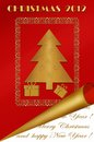 Christmas greeting card design in gold-red colors Stock Images