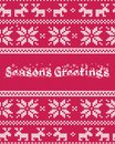 Christmas greeting card with fair isle knitted pattern