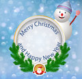 Christmas greeting card festive appliques backgrou background with snowman illustration Royalty Free Stock Image