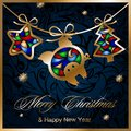 Christmas greeting card with garland, Golden Christmas tree, star and pig Royalty Free Stock Photo