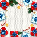 Christmas greeting card with gifts boxes set with bow. Happy New