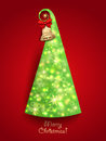 Christmas greeting card green christmas tree with twinkly lights and gold bell Stock Images