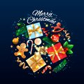 Christmas greeting card with holiday objects. Merry Christmas and happy new year. Background with gift box and balls