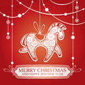 Christmas greeting card with horse vector illustration Stock Photos