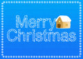 Christmas greeting card with house and snowflakes background Royalty Free Stock Photography