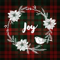 Christmas greeting card, invitation. Finch bird and white Christmas wreath made of poinsettia, fir branches. Tartan background