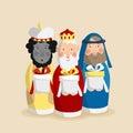 Christmas greeting card, invitation with three magi Royalty Free Stock Photo