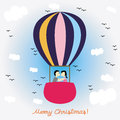Christmas greeting card kiss on the balloon for everyone Stock Images