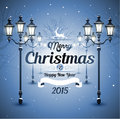 Christmas greeting card old street in night winter Royalty Free Stock Photo