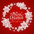 Christmas greeting card with paper snowflakes round frame on red background for Your holiday design Royalty Free Stock Photo