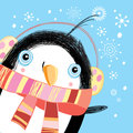 Christmas greeting card with a penguin bright funny on blue background snowflakes Stock Images
