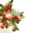 Christmas greeting card with pine branches, baubles, bells and c Stock Photos