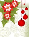 Christmas greeting card with poinsettia and decorations Royalty Free Stock Photo