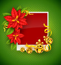 Christmas greeting card with poinsettia flowers and gold jingle bells traditional red on green background eps vector illustration Stock Image