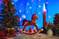 Christmas greeting card with red wooden horse