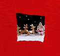 Christmas greeting card with red wrapping paper torn showing santa and reindeer cookies Stock Photography