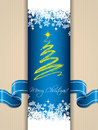 Christmas greeting card with ribbon design blue Royalty Free Stock Images