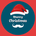 Christmas greeting card. Santa`s mustache and hat. Merry Christmas and Happy New Year postcard.