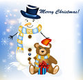 Christmas greeting card with snowman and toy bear Royalty Free Stock Photo
