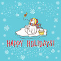 Christmas greeting card snowman vector illustration template for winter design Stock Photo