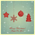 Christmas greeting card with star snowflake chris and new year tree and ball Stock Photography
