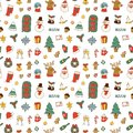 Christmas greeting card stickers seamless pattern background vector winter celebration design holidays winter decoration
