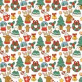 Christmas greeting card stickers seamless pattern