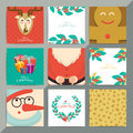 Christmas greeting card template set. Vector xmas invitation lay Royalty Free Stock Photo