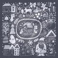 Christmas greeting card template, vector Merry Christmas. Winter holiday design, frame wreath design made of childish doodles: San