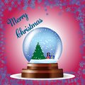 Christmas greeting card with tree and gifts in a globe on red background