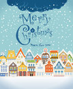 Christmas greeting card vintage buildings with snowfall on winter Stock Image