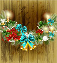 Christmas greeting card on wooden texture Stock Images