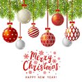 Christmas greeting card with red Xmas balls Royalty Free Stock Photo