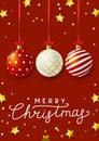 Christmas greeting card with Xmas balls Royalty Free Stock Photo