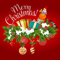 Christmas greeting card with xmas tree, gift, toy