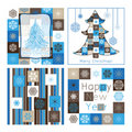 Christmas greeting cards - compilation of four car Royalty Free Stock Image